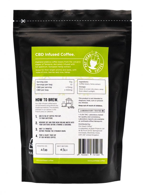 CBD Infused Coffee Directions and Ingredients Information