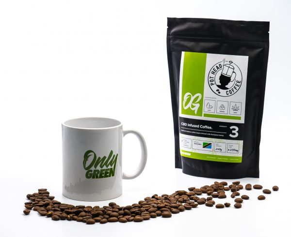 Only Green CBD Coffee With Branded Mug and Coffee Beans