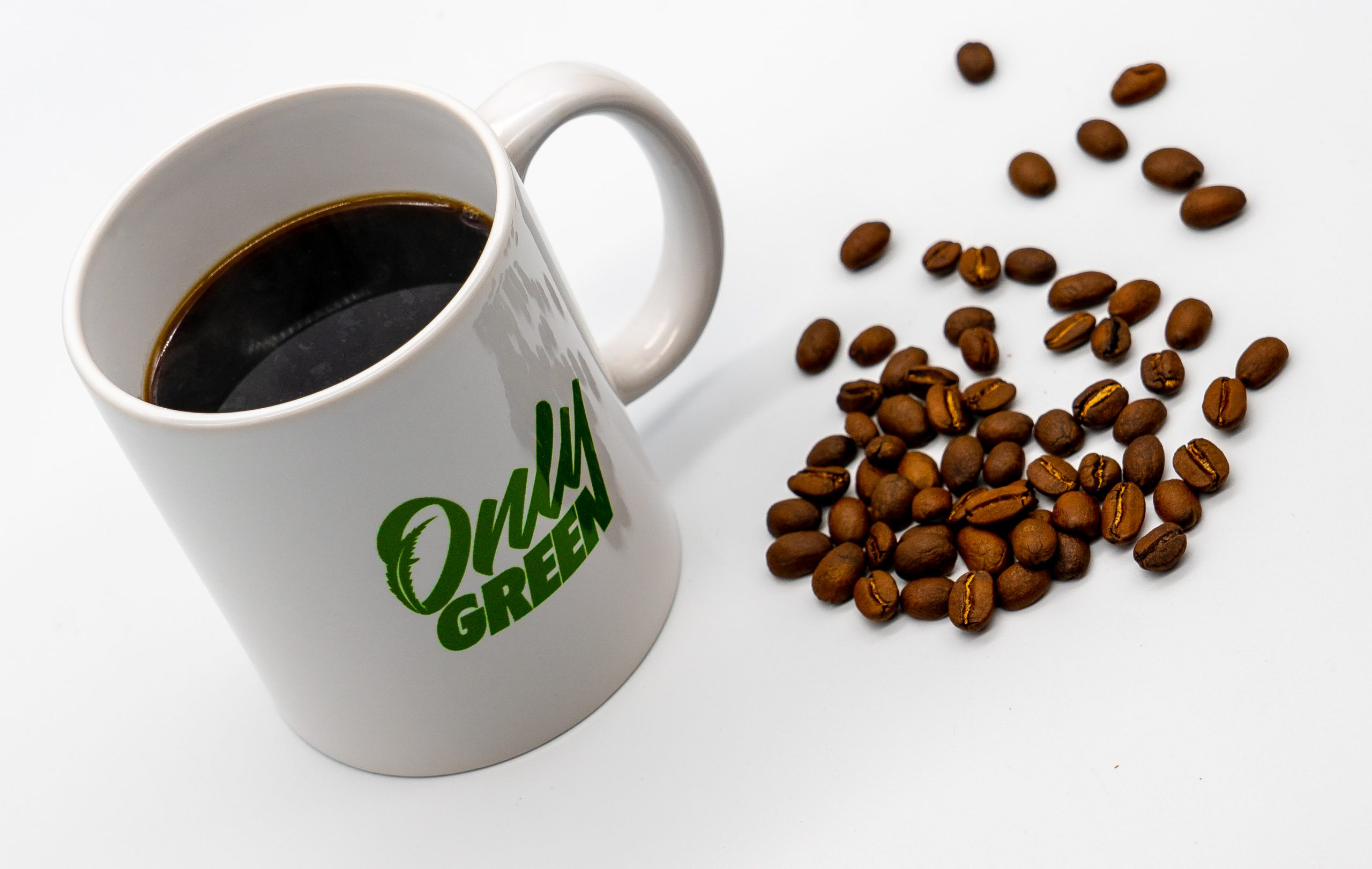 Coffee Cup With CBD Coffee and Coffee Beans
