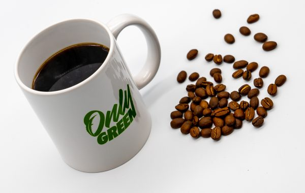 Only Green Mug With CBD Coffee and Coffee Beans