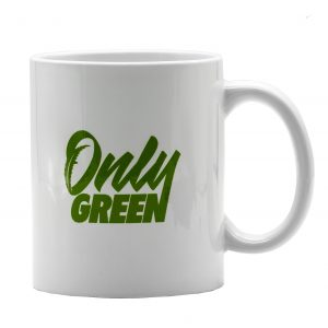 Only Green White CBD Coffee Mug With Green Logo