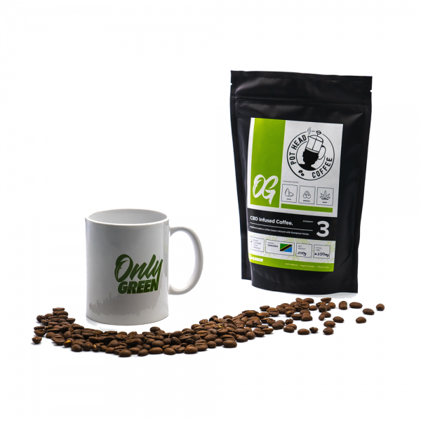 Only CBD Infused Coffee With Mug and Beans