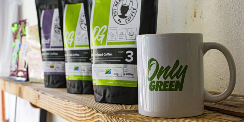 Only Greed CBD Coffee Products With Mug